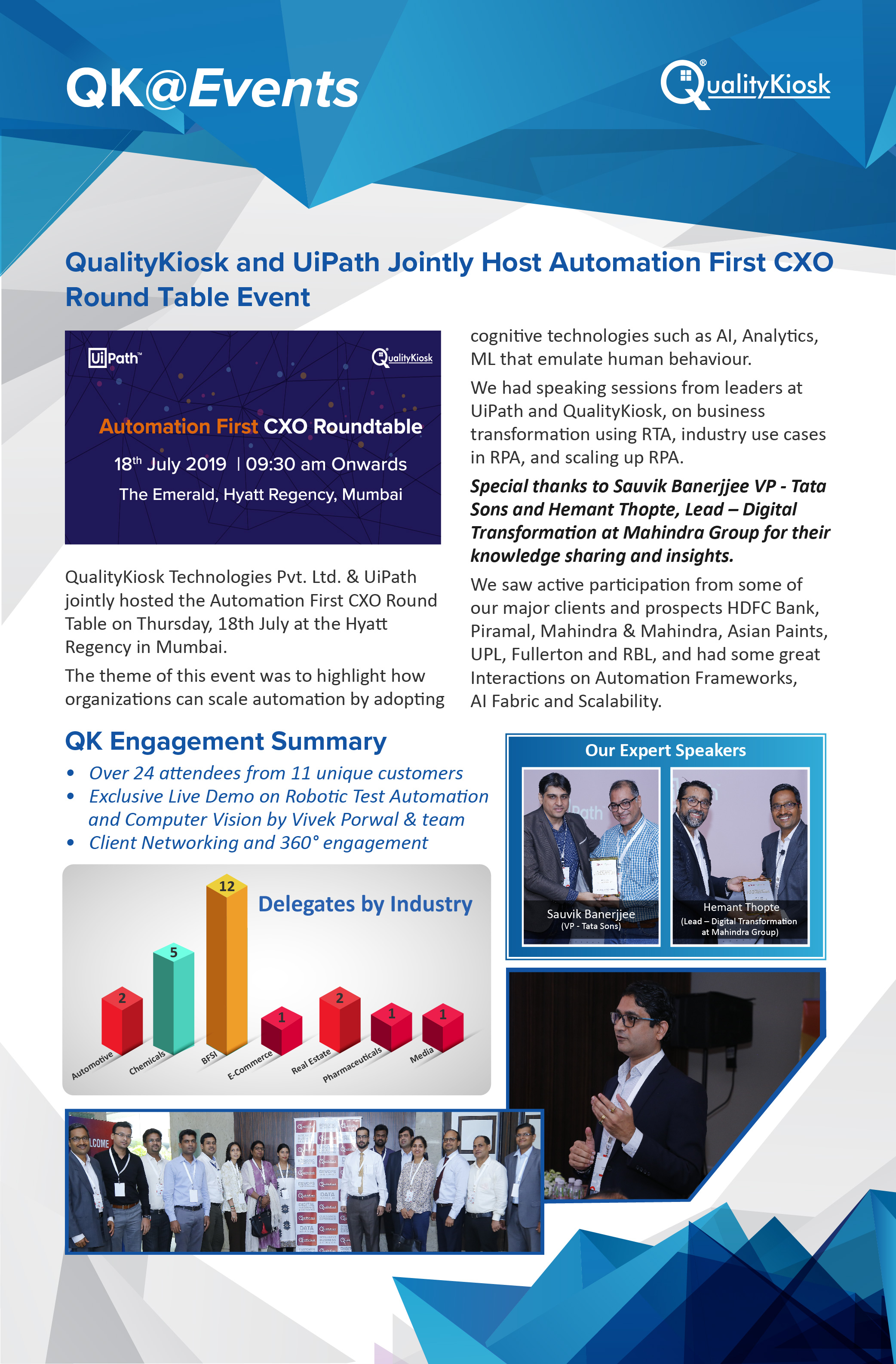 "QUALITYKIOSK & UIPATH JOINTLY HOST ""AUTOMATION FIRST CXO ROUND TABLE"" EVENT IN MUMBAI"