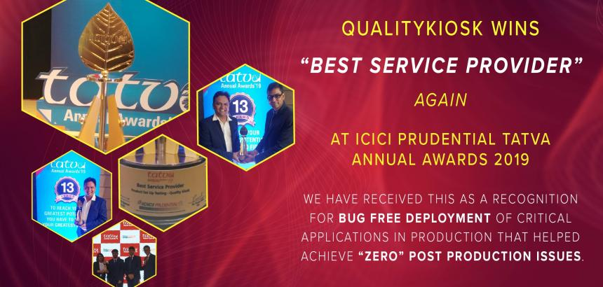 "QualityKiosk Recognized as the ""Best Service Provider"" at ICICI Prudential TATVA Annual Awards 2019"